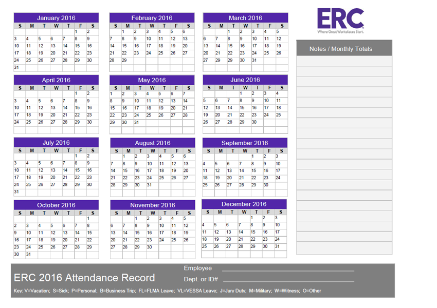 2016 Attendance Record
