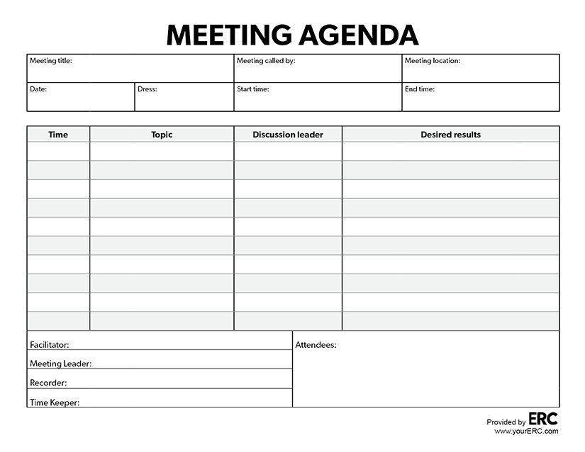 Editable Meeting Agenda